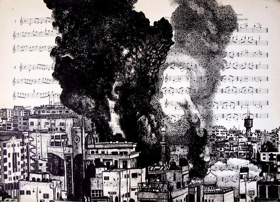 Gaza, encre, Saïssi