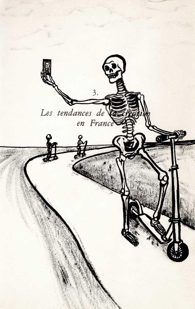 Selfie de squelette, encre, Saïssi