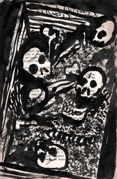 Courses macabres, encre de chine, Saïssi