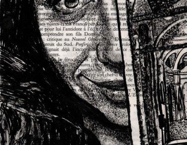 Sita, encre de chine sur page de livre, 2014 -- Collection particulière