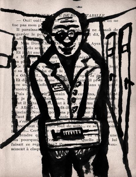 psychiatre, encre de chine, page imprimée, Saïssi