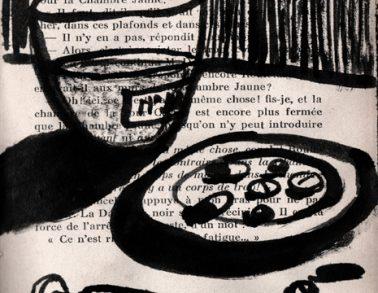 Traitement, encre de chine sur page de livre, 2012 -- Collection particulière