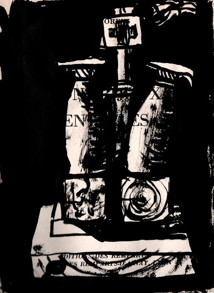 Christ, encre de chine, papie imprimé, Saïssi