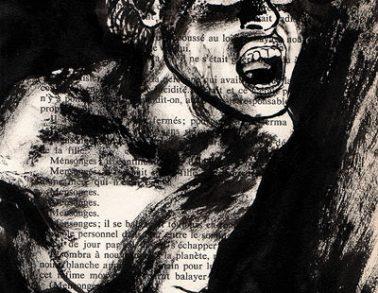 Psychose, encre de chine sur page de livre, 2013 -- Collection particulière