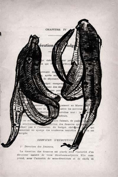 peaux de banane, encre, Saïssi