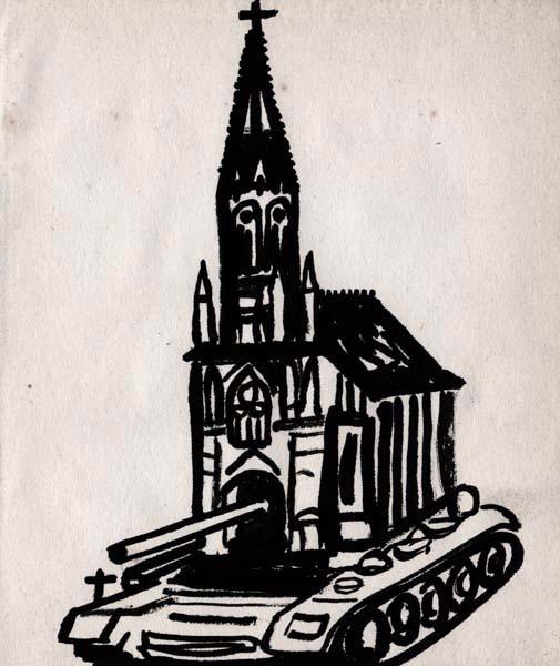 Eglise-tank d'après KK, encre, Saïssi