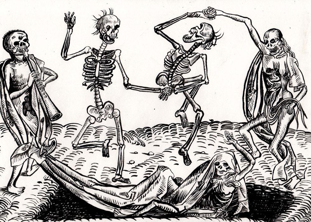 La danse des squelettes, encre, Saïssi