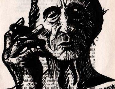Marcel, encre de chine sur page de livre, 2012 -- Collection particulière
