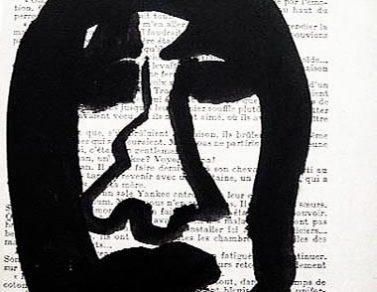 Dessin de tête, Encre de chine, papier imprimé