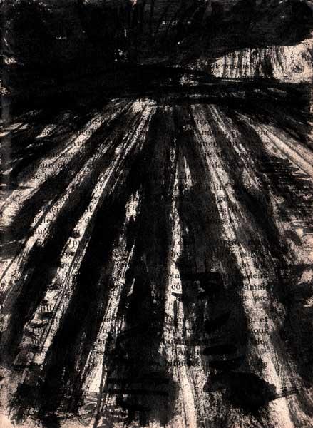 paysage, noir, encre, papier imprimé, Saïssi