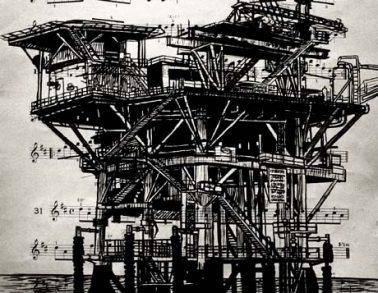 Plateforme pétrolière, encre de chine sur partition, 30x22cm, 2013 -- Collection particulière