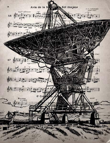 Radar, encre sur partition, Saïssi