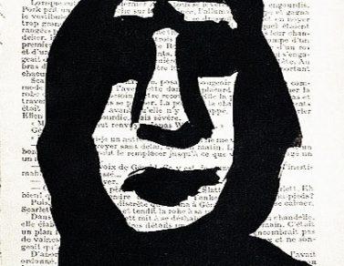 Portrait noir, Encre de chine, papier imprimé