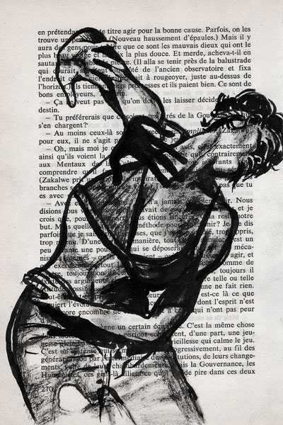 Transe, encre sur papier imprimé, Saïssi