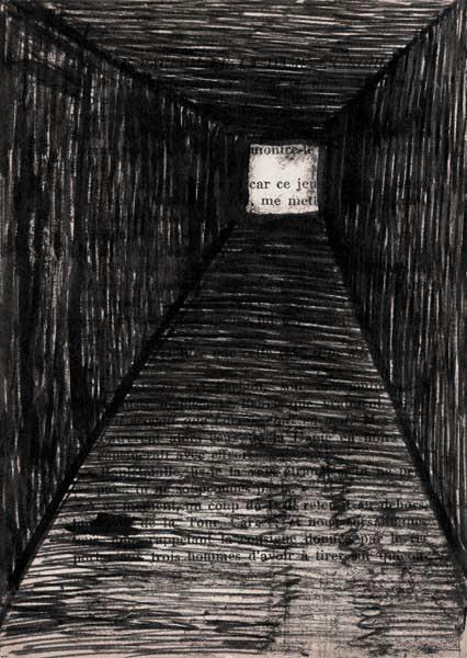 tunnel, encre, papier imprimé