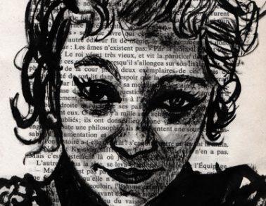 Marlène, encre de chine sur page de livre, 2014 -- 300€