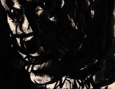 Pittbull, encre de chine sur partition, 20x15cm, 2014 --300€