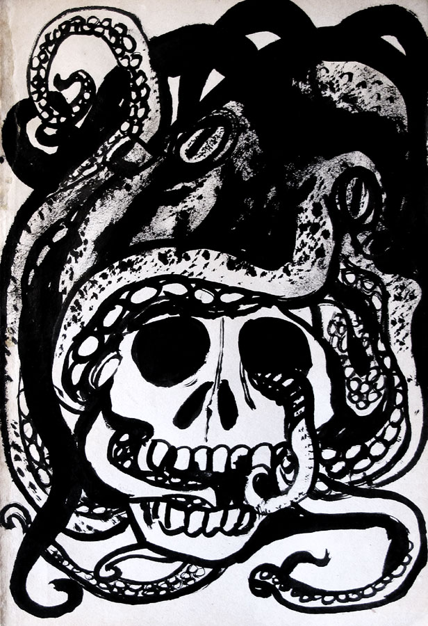 Pieuvre crâne, Encre Saïssi