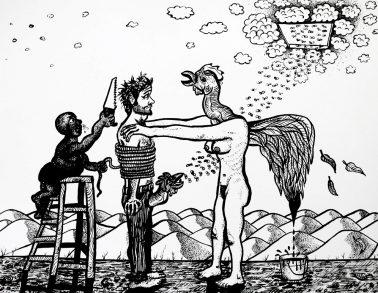 Le rêve de narcisse, encre de chine, A3, 2015 -- 600€