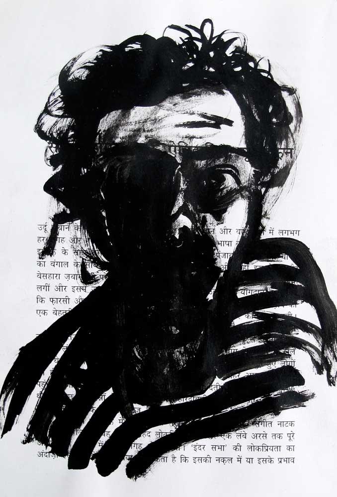 Autoportrait, encre, Saïssi