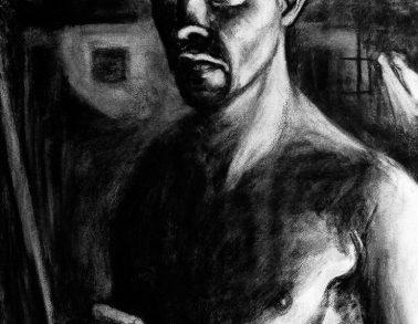 Autoportrait aux chauves-souris, fusain sur Arches, 60x75cm, 2016 -- 800€