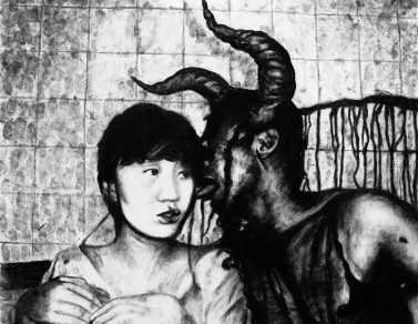 Girl and devil, fusain, Saïssi