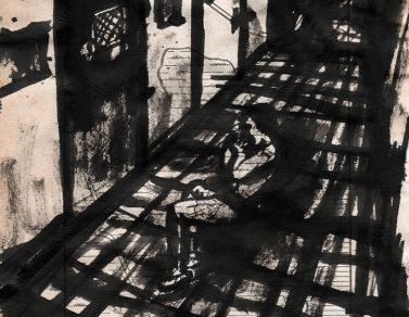Le couloir, encre de chine sur page de livre, 2016 -- Collection particulière