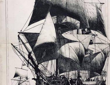 LEtoile du Roy, encre de chine sur carte maritime, 110x70cm, 2020 -- Collection particluière