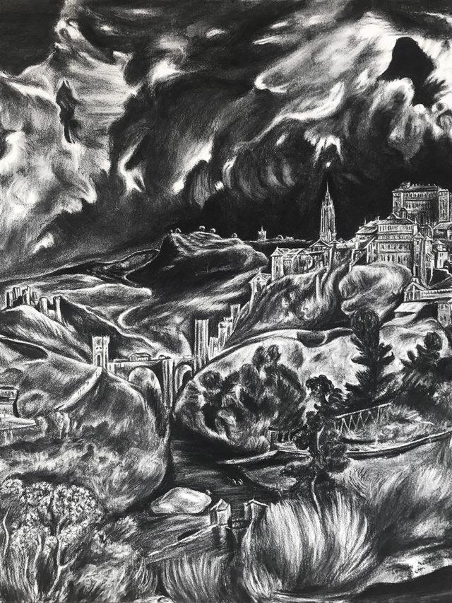 """""""Paysage de Tolède"""", d'après El Greco, fusain sur Arches, 96x93cm, 2019"""