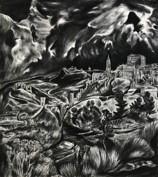 """""""Vue de Tolède"""", d'après Le Greco, fusain sur Arches, 96x93cm, 2019"""