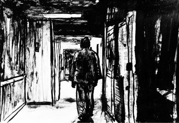 deambulations, asile, encre, dessin