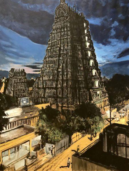 Meenakshi Temple, Acrylique sur toile, 115x90cm, 2020