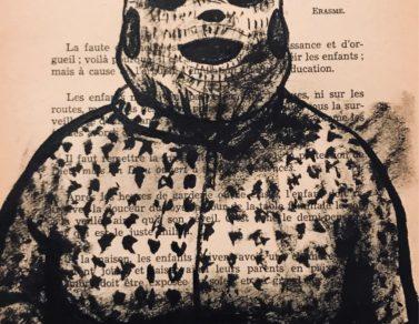 Creepachu, encre de chine sur page de livre, 2020 -- Collection particulière