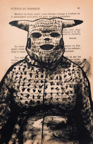 Creepachu, encre de chine sur page de livre, 2020