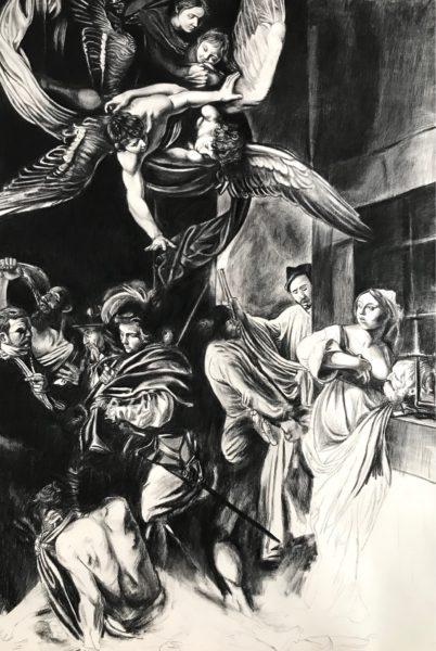 Miséricorde x7, fusain sur Arches, 160cmx107cm, 2020