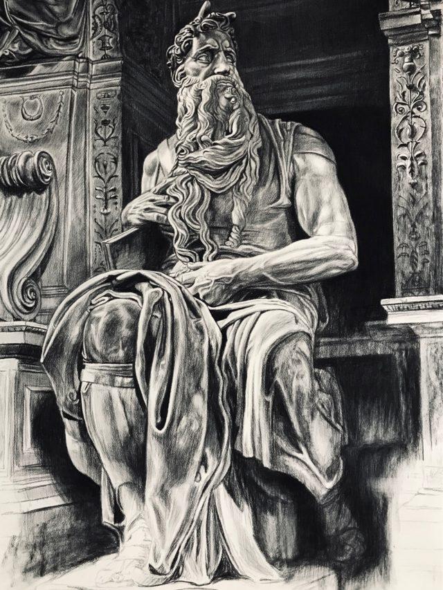 Moïse, fusain sur Arches, 160x107cm, 2020 -- 2500€