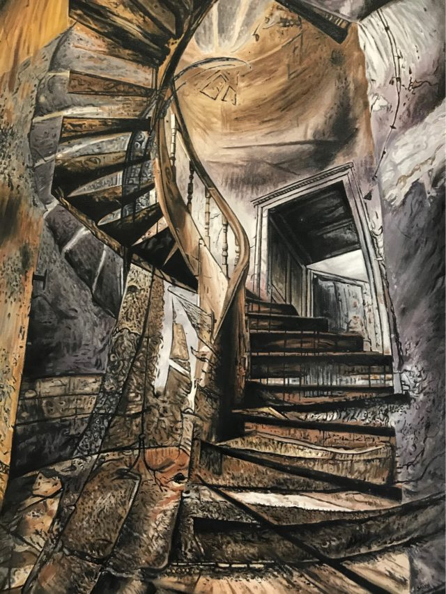Stairway to ? , huile sur toile, 130x89cm, 2021 -- 3300€
