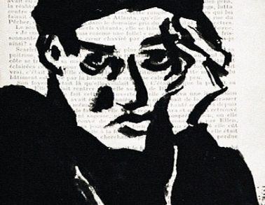 Autoportrait au pinceau, acrylique sur page de livre, 1999 -- 150€