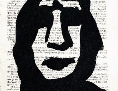 Portrait noir, acrylique sur page de livre, 1999 -- 150€
