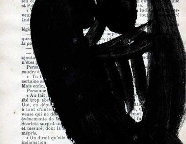 Démon, acrylique sur page de livre, 1999 -- 150€