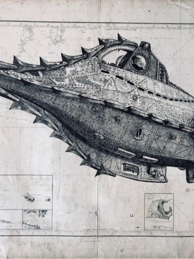 Le Nautilus, encre de chine sur carte maritime, 70x110cm, 2020 -- 1200€