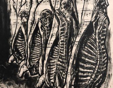 Carcasses, encre de chine sur partition, 30x22cm, 2020 -- Collection particulière