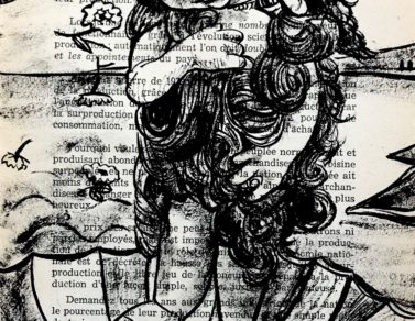La naissance de Venus, encre de chine sur page de livre, 2020 -- 300€