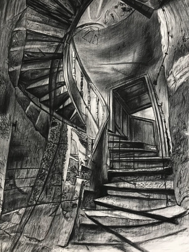 Stairway to ? , fusain sur Arches, 160x107cm, 2021 --2500€