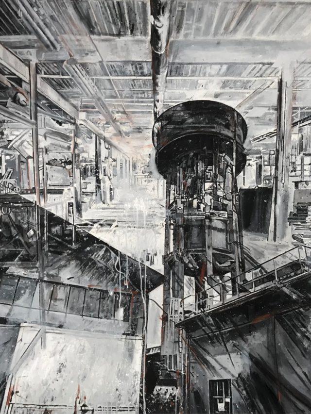 L'usine, acrylique sur toile, 130x195cm, 2021 -- 6800€
